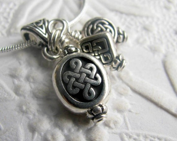 Celtic Knots charm necklace - Tierra Cast antiqued silver black pewter, oval, circle, square, ancient Celts, Druids, triad, endless knot