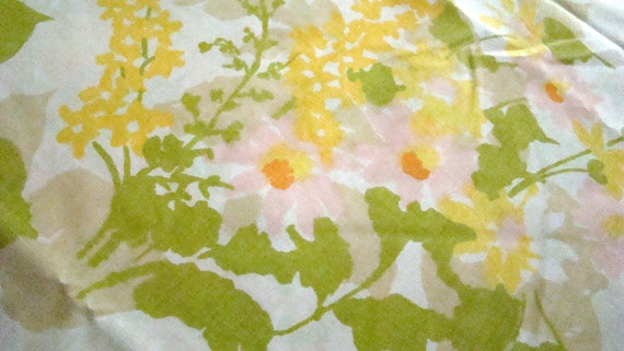 Vintage Twin Floral Flat Yellow Sheet Flower Power  / Reclaimed Bed Linens