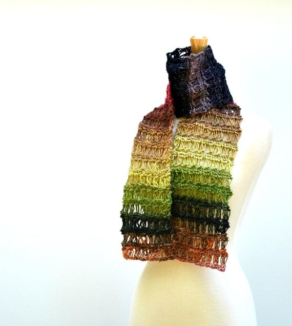 Knit Lace Scarf Noro Multicolor Striped Scarf