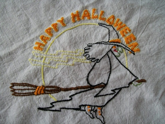 Hand Embroidered Dish Towel, Embroidery, Halloween