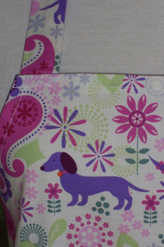 Womens Full Apron - Puppies and Posies
