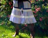 Patchwork Bloomer Capri Culottes Wide Leg Palazzo Pants Adjustable Elastic Drawstring Foldover Jersey Knit Waistband Gypsy Ruffles Size XL