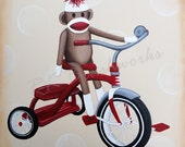 Childrens Wall Art, Nursery Art for Baby Nursery Decor, Kids Art Print - Vintage Ryder Sock Monkey on Tricycle 12x12 print - wall decor