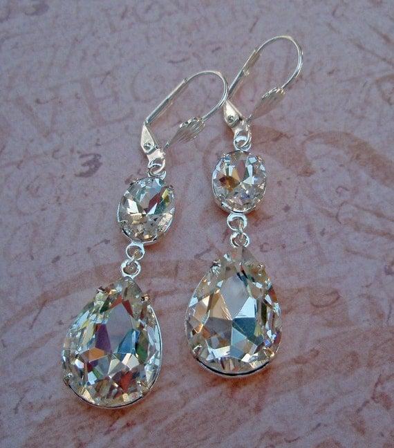 Bridal Earrings, Vintage Bride, Crystal Earrings, Estate Style, Rhinestone Drop Earrings, STARLET