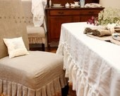 "TABLE CLOTH...linen with frayed ruffle ""Lilly""(biggest size)"