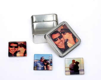 Custom Photo Magnets with Gift Tin