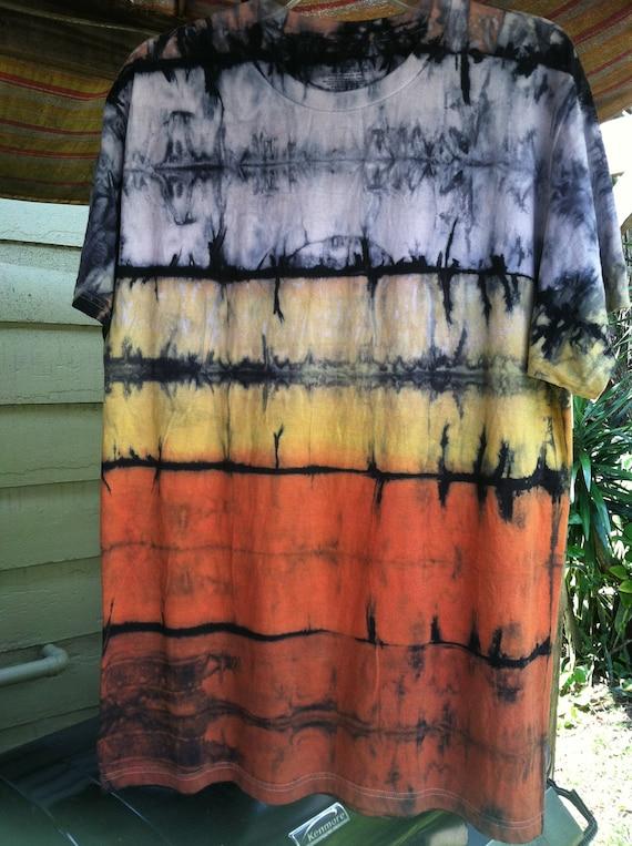 Mens Black with Burnt orange and yellow shibori landscape Dye Large