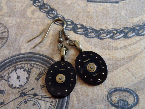Steampunk Earrings - Time piece - Steampunk watch parts - Repurposed art