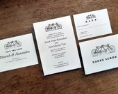 Printable Wedding Invitation Set - Tandem Bicycle - Black and White Vintage Tandem Bike Wedding Invite PDF Templates - Instant Download