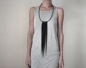 Long hair and leather black necklace