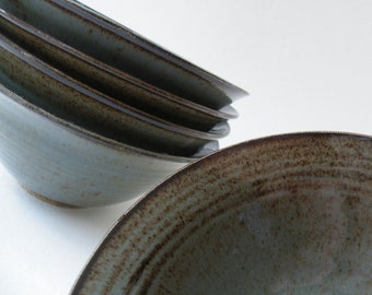 Handmade Blue Gray Set of 4 MADE TO ORDER Dessert Bowls, Cereal Bowls, Small Bowls, Stoneware Granola Bowls, Cereal/IceCream Dishes