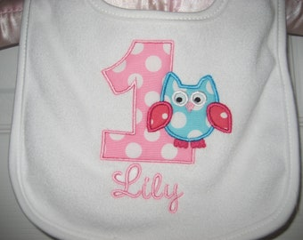 Boutique owl birthday bib monogrammed