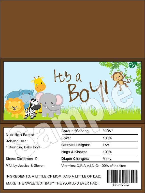 safari baby shower candy bar wrappers