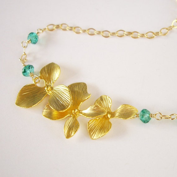 Orchid Sweetheart - 14kt Gold filled, 14kt Gold Over Brass, Emerald Quartz
