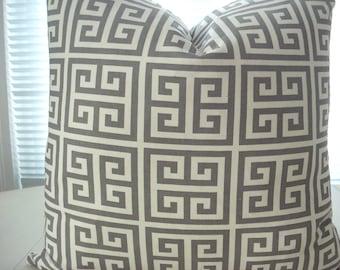 Both Sides--  GREY Geometric-- Decorative PillowCover--Designer Fabric-- Throw Pillow Medium Grey /Creamy Ivory -Grey Throw Pillow