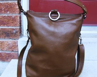 Tan leather bag, Leather Fold Over purse, Messenger Bag - Cognac Tan