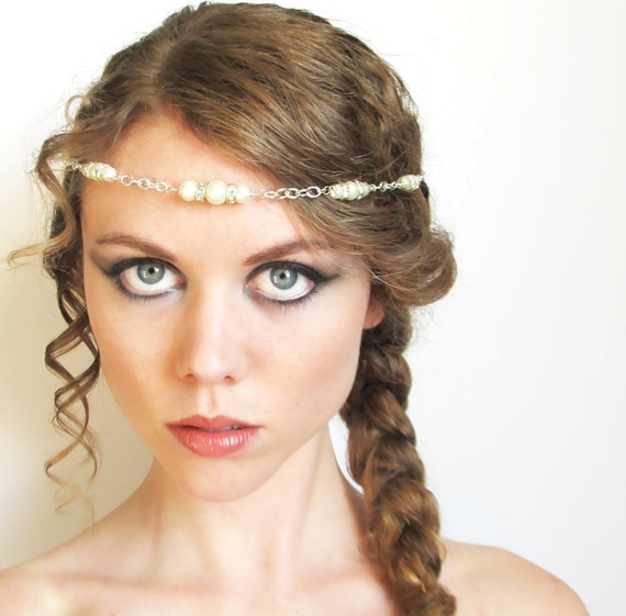 Diamond and Pearl Bridal Head Piece