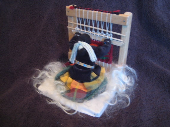 Vintage Signed Native American Indian Doll at Weaving Loom