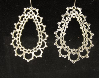 Antique Silver Drop Pendant, sold in quantity of 10
