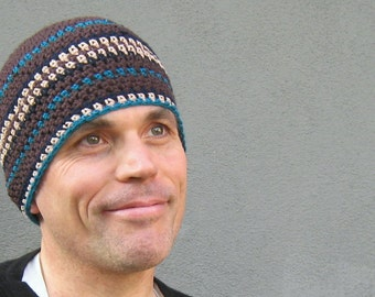 crochet cotton men's beanie/ chocolate brown blues