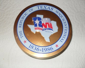 Tin 22 - Vintage 80s Texas Sesquicentennial Cookie Tin