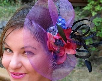 Purple Fascinator lavender  wedding hat  SWEET DELIGHT