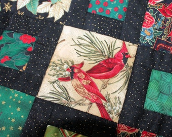 Quilted Christmas Throw, Cardinals and Poinsettias Lap Quilt, Red, Green, Black blanket, Winter Patchwork Throw, Quiltsy Handmade Patchwork