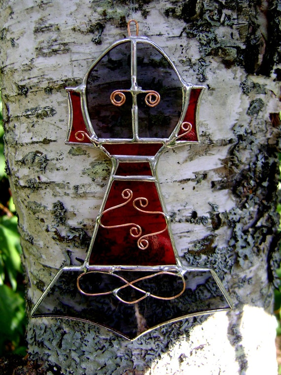 Thors Hammer Pagan Norse Stained Glass Suncatcher Axe Yule Solstice Equinox Housewarming Birthday Christmas Gift Original Design