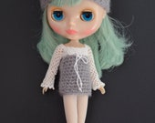 SALE Blythe Doll Crochet Four-Way Hat Turban Cloche Beanie Cool Grey & White Bow Dress Top