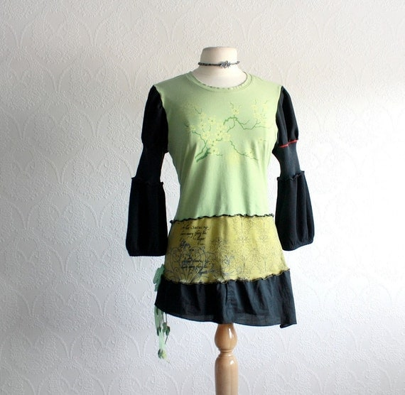 Upcycled Clothing Women's Green Shirt Black Recycled Top Boho Clothes Eco Fashion Reconstructed Medium Large 'YULA' Cyber Monday Etsy