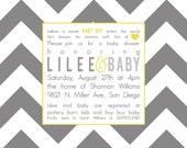 Lilee- Custom Chevron Baby Shower Invitation in gray- PRINTABLE INVITATION DESIGN