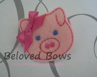 Embroidered Felt Little Piggy Hair Clip Bow