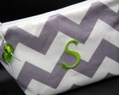 Makeup Bag - Cosmetic Case - Monogrammed and Wipeable - Gray Chevron Zig Zag with Apple Green Accents