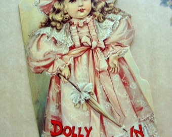 Vintage Victorian Diecut Story Book Dolly in Town New/Old Stock