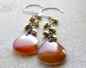 Red Agate Earrings, Silver and Gold, Red and Orange Drop Earrings, Mixed Metal Dangle Earrings, Fringe Earrings