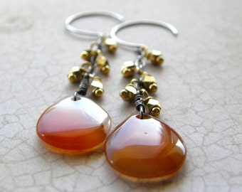Red Agate Earrings, Silver and Gold, Red and Orange Drop Earrings, Mixed Metal Dangle Earrings, Fringe Earrings