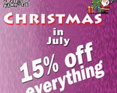 Christmas in July Sale with 15% Off Everything