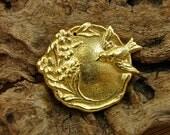 Swallow and Vine - 24K Gold Vermeil Vintage Replica Pendant - One Piece