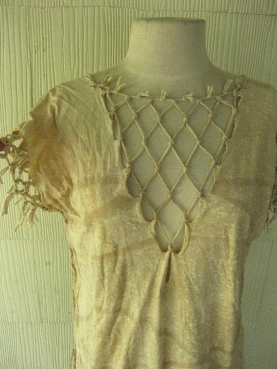 VINTAGE 70s boho native fringe dress