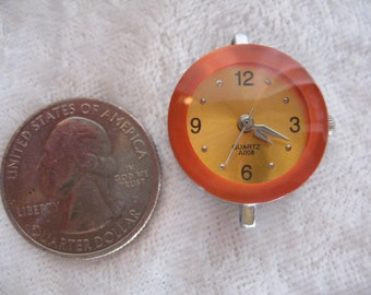 SALE Sale  Bright Orange Watch Face Quartz, Silver Tone DESTASH