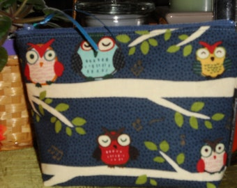 Night Owls Make Up / Coin / Storage / Organizer / Cell Phone Pouch