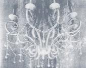 Soft Gray Chandelier - 8X8 Fine Art Photograph - vintage hanging light, soft gray, textured, masculine, home decor - janeheller