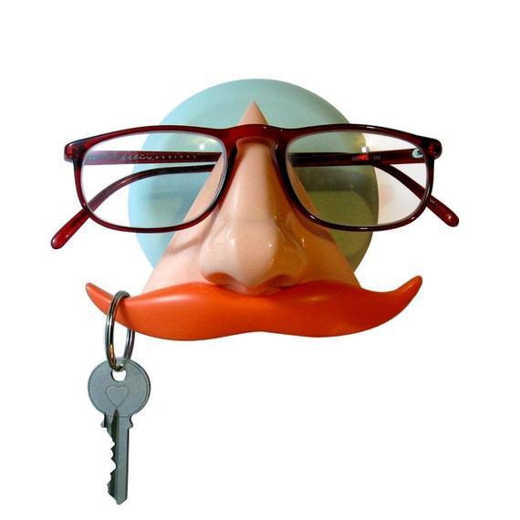 Nose Eyeglass Holder Wall Decor Key hook mustache organizer Orange and Mint