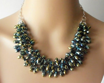 Sparkly Green Crystal Holiday Statement Necklace