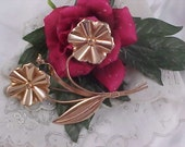 Free Ship ~ ROSE GOLD Vermeil Sterling Mexico Double Floral Long Stem Brooch