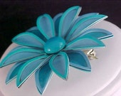 Stunning Aqua All Metal Flower Brooch/Pin