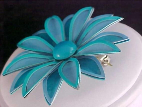 Stunning Aqua All Metal Flower Brooch/Pin