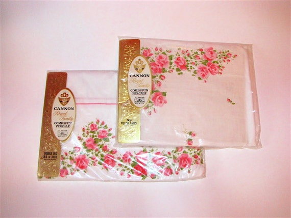 Vintage Double Sheet and Pillow Set - Never Been Opened - Pink Roses