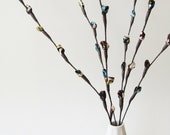 Fabric Pussy Willow Branches - Brown Teal Blue Green Stems (set of 6)
