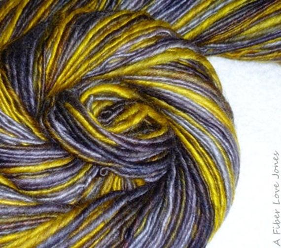 Wise Old Owl Handspun Art Yarn - 200 yards - Single Ply - Knitting - Crochet - Felting - Weaving - Mixed Media - Fiber Arts